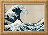 A Grande Onda de Kanagawa, da série 36 vistas do Monte Fuji, Fugaku Sanjuokkei Impressão giclée emoldurada por Katsushika Hokusai