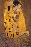 De kus Kunstdruk geperst op hout van Gustav Klimt