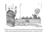 """Do you swear to calm the jittery financial markets, all the jittery finan…"" - New Yorker Cartoon Premium Giclee Print by Michael Crawford"