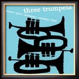Tre trumpeter Indrammet fotografitryk