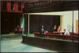Yökyöpelit, n. 1942 Pohjustettu vedos tekijänä Edward Hopper