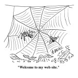 """Welcome to my web site."" - Cartoon Premium Giclee Print by Aaron Bacall"