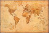Världskarta Monterat tryck