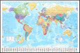 Wereldkaart - Vintage Kunstdruk geperst op hout