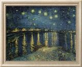 Stjärnklar natt över Rhône, ca 1888 Inramat gicléetryck av Vincent van Gogh
