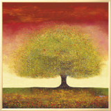 Dreaming Tree Red Framed Canvas Print by Melissa Graves-Brown