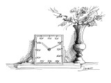 A clock has 'NOW' printed where each of the numbers should be. Beside it i… - New Yorker Cartoon Premium Giclee Print by Saul Steinberg