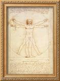 Vitruvian Man, c.1492 Framed Giclee Print by  Leonardo da Vinci