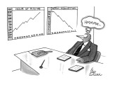 A bird, in a suit, notices charts which compare 'hour of rising,' with 'wo… - New Yorker Cartoon Premium Giclee Print by Leo Cullum