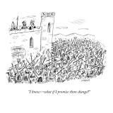 """""""I know—what if I promise them change?"""" - New Yorker Cartoon Premium Giclee Print by David Sipress"""