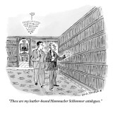 """""""These are my leather-bound Hammacher Schlemmer catalogues.""""  - New Yorker Cartoon Premium Giclee Print by Nick Downes"""