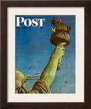 """Working on the Statue of Liberty"" Saturday Evening Post Cover, July 6,1946 Framed Giclee Print by Norman Rockwell"