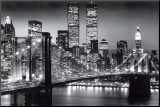 Manhattan la nuit, par Richard Berenholtz, photographe de New York Affiche montée