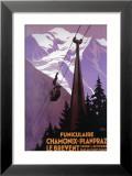 Chamonix-Mont Blanc, France - lanová dráha na vrchol hory Brévent Zarámovaná digitálně vytištěná reprodukce