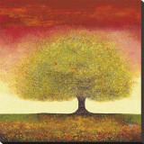 Dreaming Tree Red Stretched Canvas Print by Melissa Graves-Brown
