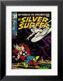 Marvel Comics Retro: Silver Surfer Comic Book Cover 4, Thor (aged) Framed Giclee Print