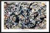 Zilver op zwart Poster van Jackson Pollock