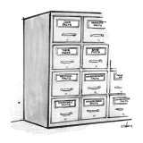 "Filing cabinets labeled, ""Our Facts"" ""Their Facts"" ""Neutral Facts"" ""Disput… - New Yorker Cartoon Premium Giclee Print by Dana Fradon"