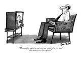 """Meaningless statistics were up one-point-five per cent this month over la…"" - New Yorker Cartoon Premium Giclee Print by Dana Fradon"