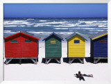 Victorian-Style Bathing Boxes on the Beach, Western Cape, South Africa Framed Photographic Print by John Warburton-lee