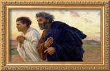 The Disciples Peter and John Running to Sepulchre on the Morning of the Resurrection, circa 1898 Framed Giclee Print by Eugene Burnand