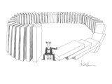Man, with suicide note pinned to shirt, pushes over first of many large do… - New Yorker Cartoon Premium Giclee Print by Arnie Levin