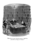 """What burns me up is that the answer is right here somewhere, staring us i…"" - New Yorker Cartoon Premium Giclee Print by Robert J. Day"