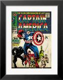 Marvel Comics Retro: Captain America Comic Book Cover 100, with Black Panther, Thor, Namor (aged) Gerahmter Giclée-Druck