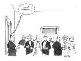 """Man walks into party and thinks to himself: """"Yipes! Grownups!!"""" - New Yorker Cartoon Premium Giclee Print by Jack Ziegler"""