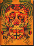 Day of The Dead Skull Stretched Canvas Print by  Brother Greg