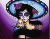 The Blue Sombrero Stretched Canvas Print by Cat Ashworth