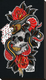 Snake & Skull Stretched Canvas Print by Brad Mariachi