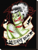 Mutant Rock Stretched Canvas Print by Hilary Jane