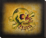 Skull & Web Stretched Canvas Print by Christopher Perrin