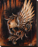 Winged Skull Stretched Canvas Print by Manuel Valenzuela