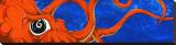 Underwater Curiosity Orange Stretched Canvas Print by David Lozeau