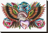Eagle & Heart Stretched Canvas Print by  English (Artist)