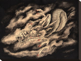 Dragon & Smoke Stretched Canvas Print by Clark North