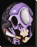 Smoking Skull Stretched Canvas Print by Kirsten Pedroza