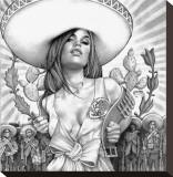 Charra Girl Sträckt Canvastryck av Mouse Lopez