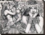 Amor Azteca Stretched Canvas Print by Mouse Lopez