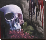 Skull & Grapes Stretched Canvas Print by Nakota Hedrick