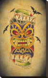 Creepy Tiki Stretched Canvas Print by Christopher Perrin