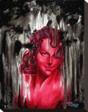 Red Woman Stretched Canvas Print by Manuel Valenzuela