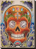 Orange Skull Stretched Canvas Print by Opie Ortiz
