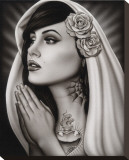 Tattooed Mary Stretched Canvas Print by  Spider (Artist)