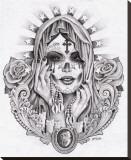 Sante Muerte Stretched Canvas Print by Mouse Lopez