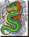 Green Dragon Stretched Canvas Print by Mouse Lopez