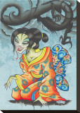 Geisha Dragon Stretched Canvas Print by Opie Ortiz