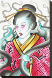 Geisha & Octopus Stretched Canvas Print by Samuel Gosson